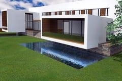 Wiedergabe 3D der modernen Villa stock abbildung