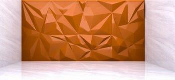 Wiedergabe 3D der orange Polygonwand im Marmorraum Stockbild