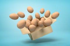 Wiedergabe 3d der Pappschachtel in einer Luft voll von den Hühnereien, die heraus von ihr auf hellblauem Hintergrund fliegen vektor abbildung