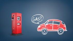 Wiedergabe 3d der roten Gaspumpe nahe einer Zeichnung eines roten Retro- Autos mit einem Wort Gas innerhalb einer Spracheblase Stockbild