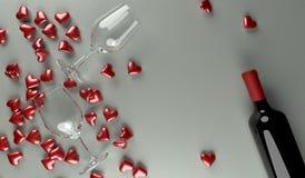 Wiedergabe 3D der Rotwein-Flasche mit geöffneter Geschenkbox voll purpurroten Herzen Lizenzfreie Abbildung