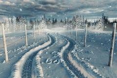 Wiedergabe 3d der schneebedeckten Landschaft mit Straße und Weg Lizenzfreies Stockbild