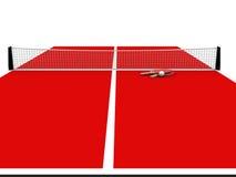 Wiedergabe 3D der Tischtennistabelle und -netzes lokalisiert Stockbilder