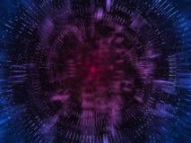 Wiedergabe 3D des abstrakten Technologiehintergrundes mit Glühenpunkten und Gitterlinien Für High-Teches Produkt Schlüsselwährung lizenzfreies stockbild