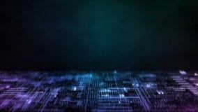 Wiedergabe 3D des abstrakten Technologiehintergrundes Rechnerschaltungspunkte und binäre Daten verwischen Für die tiefe Lernfähig vektor abbildung