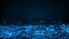 Wiedergabe 3D des abstrakten Technologiehintergrundes Rechnerschaltungspunkte und binäre Daten verwischen Für die tiefe Lernfähig stock abbildung