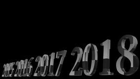 Wiedergabe 3d des Designs des Textes 3d des guten Rutsch ins Neue Jahr 2018 mit klarem Ba Stockbild