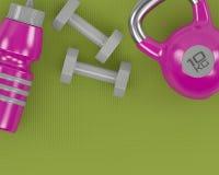Wiedergabe 3d des Dummkopf-, kettlebell- und Turnhallenschüttels-apparat auf Eignung Stockfoto