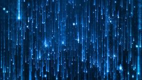 Wiedergabe 3D des Fallens der hellen Partikel Starfall auf einem dunklen Hintergrund mit den glänzenden und glühenden Sternchen Stockfoto
