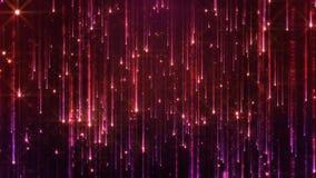 Wiedergabe 3D des Fallens der hellen Partikel Starfall auf einem dunklen Hintergrund mit den glänzenden und glühenden Sternchen Lizenzfreies Stockfoto