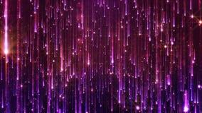 Wiedergabe 3D des Fallens der hellen Partikel Starfall auf einem dunklen Hintergrund mit den glänzenden und glühenden Sternchen Stockfotos
