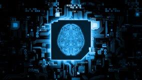 Wiedergabe 3D des Hardware-Konzeptes der k?nstlichen Intelligenz Gl?hender blauer Gehirnstromkreis auf Mikrochip auf Computermoth stockfotos