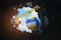 Wiedergabe 3d des Hochziehens des tragenden Volleyball des Kranes und des Brechens der schwarzen Wand, die Loch in ihm mit dem bl lizenzfreie abbildung