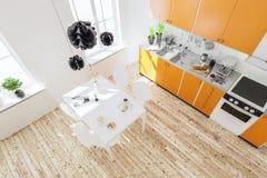 Wiedergabe 3d des Kücheninnenraums im modernen Haus mit Abendessen tabl Stockfoto