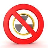 Wiedergabe 3D des Kernkraftsymbols mit verboten unterzeichnen in der Front lizenzfreie abbildung