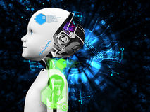 Wiedergabe 3D des Kinderroboterkopf-Technologiekonzeptes Stockbild