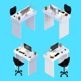 Wiedergabe 3D des kreativen Schreibtischbüroarbeitsplatzes mit einem Desktop Lizenzfreie Stockfotografie