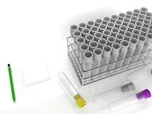 Wiedergabe 3d des Laborrohrs mit rostfreiem Gestell auf dem weißen Hintergrund Lizenzfreie Stockfotos