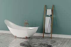 Wiedergabe 3D des leeren Badezimmers mit Tüchern und tief-angehäuftem Teppich Stockbilder
