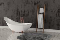 Wiedergabe 3D des leeren Badezimmers mit Tüchern und tief-angehäuftem Teppich Stockfoto