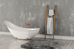 Wiedergabe 3D des leeren Badezimmers mit Tüchern und tief-angehäuftem Teppich Lizenzfreies Stockbild