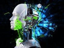 Wiedergabe 3D des männlichen Roboterkopf-Technologiekonzeptes Lizenzfreie Stockbilder