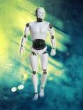 Wiedergabe 3D des männlichen Roboters mit Feuer und Rauche Stockfoto