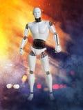 Wiedergabe 3D des männlichen Roboters mit Feuer und Rauche Stockbild