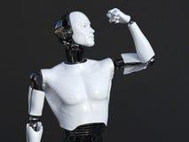 Wiedergabe 3D des männlichen Roboters seinen Bizepsmuskel biegend Lizenzfreies Stockfoto