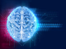 Wiedergabe 3d des menschlichen Gehirns auf Technologiehintergrund Stockbilder