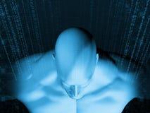 Wiedergabe 3D des menschlichen Kopfes mit binär Code Stockfotografie
