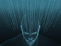 Wiedergabe 3D des menschlichen Kopfes mit binär Code Stockbild