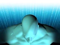 Wiedergabe 3D des menschlichen Kopfes mit binär Code Stockfotos