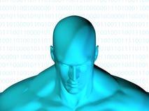 Wiedergabe 3D des menschlichen Kopfes mit binär Code Lizenzfreies Stockfoto
