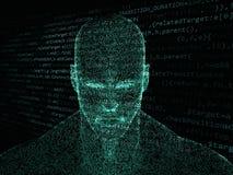 Wiedergabe 3D des menschlichen Kopfes mit Java-Code Lizenzfreies Stockfoto