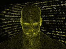 Wiedergabe 3D des menschlichen Kopfes mit Java-Code Stockfoto
