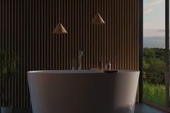 Wiedergabe 3d des modernen Badezimmers mit hölzernen Latten und freiem Double lizenzfreie abbildung