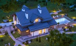 Wiedergabe 3d des modernen gemütlichen Hauses in der Chaletart Lizenzfreies Stockbild