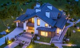 Wiedergabe 3d des modernen gemütlichen Hauses in der Chaletart Stockfoto