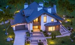 Wiedergabe 3d des modernen gemütlichen Hauses in der Chaletart Lizenzfreie Stockfotos
