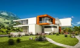 Wiedergabe 3d des modernen Hauses durch den Fluss Lizenzfreies Stockfoto