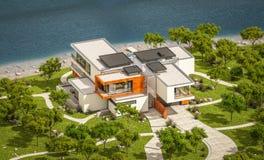 Wiedergabe 3d des modernen Hauses durch den Fluss Lizenzfreie Stockfotografie