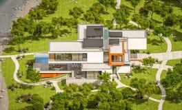 Wiedergabe 3d des modernen Hauses durch den Fluss Stockbilder