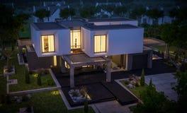 Wiedergabe 3d des modernen Hauses im Garten nachts Lizenzfreies Stockbild