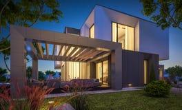 Wiedergabe 3d des modernen Hauses im Garten nachts Stockbilder