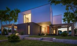 Wiedergabe 3d des modernen Hauses im Garten nachts Lizenzfreie Stockbilder