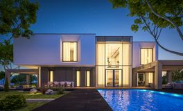 Wiedergabe 3d des modernen Hauses im Garten nachts Lizenzfreies Stockfoto