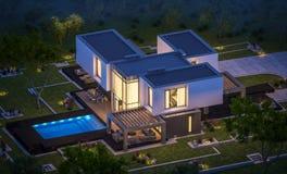 Wiedergabe 3d des modernen Hauses im Garten nachts Stockfotografie