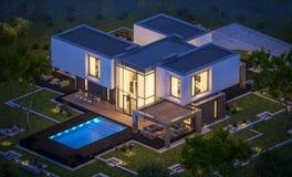 Wiedergabe 3d des modernen Hauses im Garten nachts Stockfotos