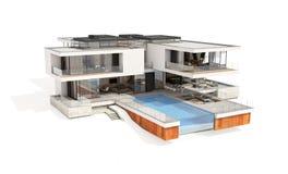 Wiedergabe 3d des modernen Hauses lokalisiert auf Weiß Lizenzfreies Stockbild